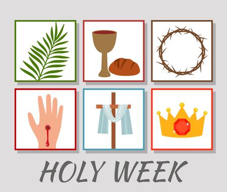 """Estandarte cristiano """"Semana Santa"""" con una colección de iconos sobre Jesucristo. El concepto de Pascua y Domingo de Ramos. ilustración vectorial plana"""