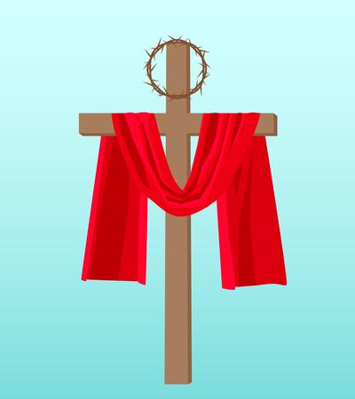 """Estandarte cristiano """"semana santa"""" con la crucifixión de Jesús y la corona de espinas. Ilustración vectorial"""