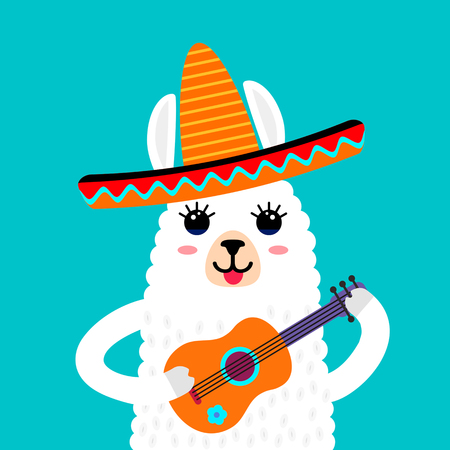 A funny muzzle of the llama alpaca in a self-bib with a Mexican guitar. Template for print on textile, T-shirt. vector illustration isolated in cartoon style