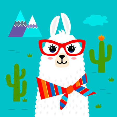 Funny muzzle llama alpaca Pattern for print on textile, T-shirt. vector illustration isolated in cartoon style Reklamní fotografie - 97676952