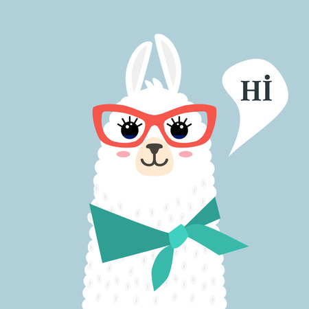 Funny muzzle llama alpaca and greeting - hi! Template for print on textile, T-shirt. vector illustration isolated in cartoon style