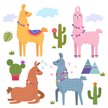 Funny llama alpaca with mountains and cactus. Children's background for print on textiles, T-shirt, stickers, greeting cards, laptops. flat Vector illustration.