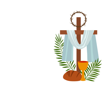 Christian banner Holy Week with a collection of icons about Jesus Christ. The concept of Easter and Palm Sunday. flat vector illustration Çizim