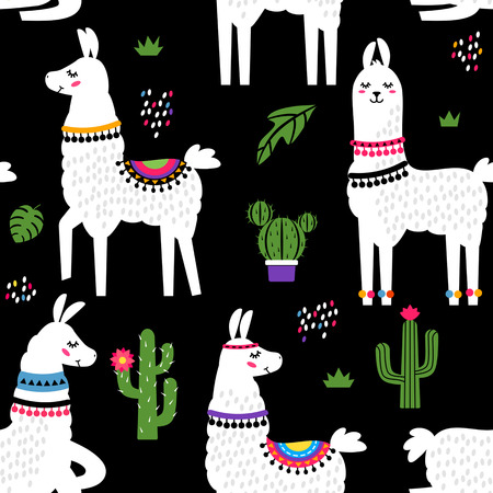 Funny childrens textile pattern for printing fabrics. Seamless pattern with llama alpaca, cactus in cartoon style. black  background Vector illustration. Çizim
