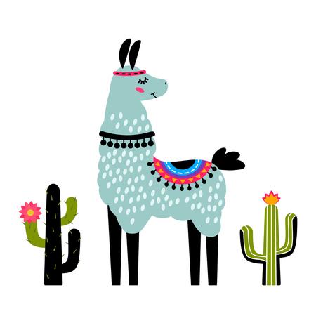 Divertente lama alpaca con cactus. Modello per la stampa su tessuti, maglietta. illustrazione vettoriale, isolato in stile cartone animato