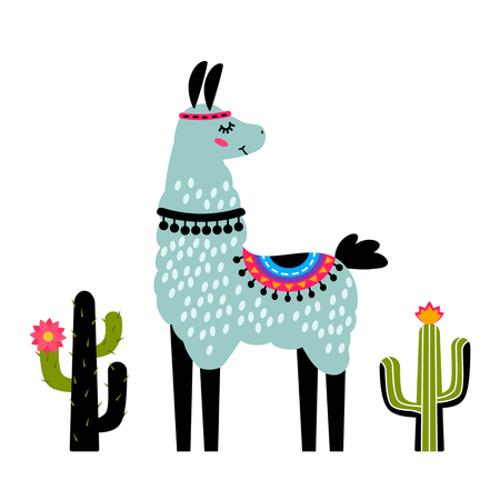 Funny llama alpaca with cacti. Template for printing on textiles, T-shirt. vector illustration, isolated in cartoon style