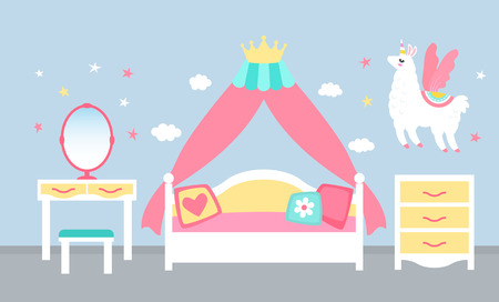 Pink bedroom interior for a princess girl with a four-poster bed and a crown. flat vector illustration