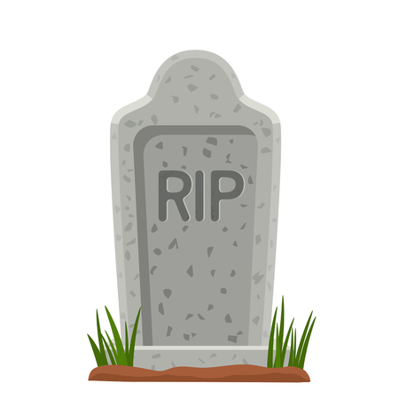 Old stone tombstone with grass. The symbol of Halloween. vector illustration isolated illustration