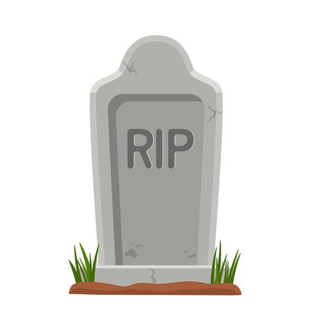 Oude stenen grafsteen met gras. Het symbool van halloween. vector illustratie geïsoleerde illustratie