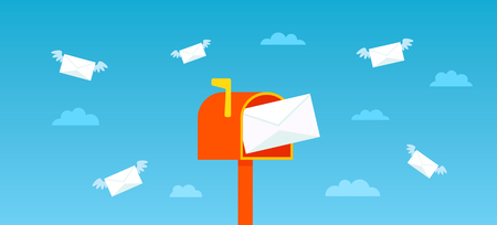 A bright red letter box into which letters fly by. The concept of internet communication and spam. banner for the web. flat vector illustration Illustration