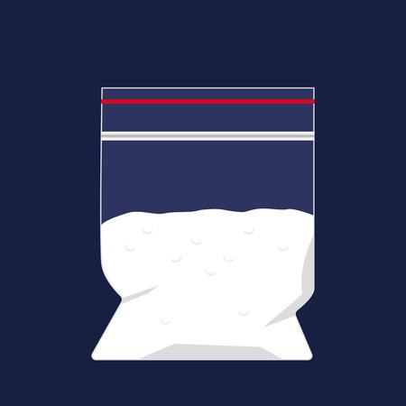 Ein Polyethylenbeutel mit einer Dosis Kokain. Das Konzept der Drogenbekämpfung. Vektor-Illustration auf einem dunklen Hintergrund