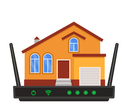 The concept of Internet connection. Wireless Internet wi-fi with the house. black and white background Stock Illustratie