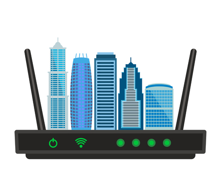 The concept of an Internet connection of a large city with skyscrapers.