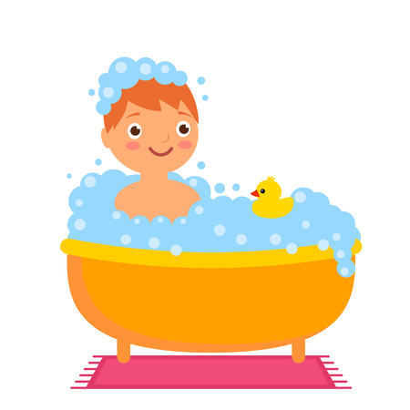 Funny boy washes in the bathroom with a yellow rubber duck. Flat vector illustration isolated on white background in cartoon style