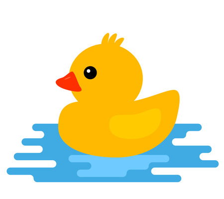 Yellow rubber duck Vector illustration of cartoon style, isolated on white background.