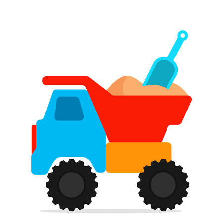 Children's plastic toy truck with sand and shovel. concept of children's summer holidays. black and white background Foto de archivo - 100131656