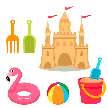 A children's sand castle on the beach with baby buckets, a shovel, a ball, a rake and an inflatable circle. The concept of a children's beach holiday. vector illustration isolated