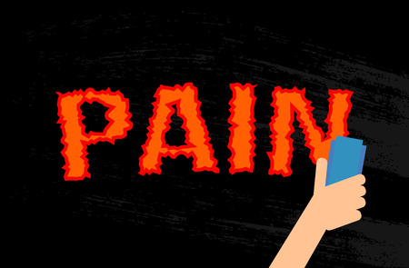 A man erases the word Pain in a black dock. the concept of recovery and health. flat vector illustration