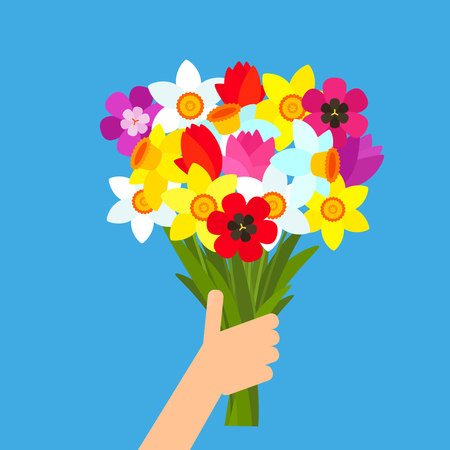 A man holds a beautiful bouquet of flowers in his hand. vector illustration isolated on blue background. flower delivery concept