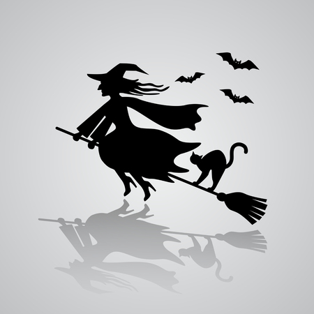 The old witch flies on a broomstick with a black cat against the background of bats. Vector illustration with reflection of shadow. The Haloween Concept Illustration