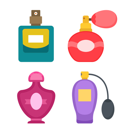 Collection of different perfume icons in a flat style isolated on white background