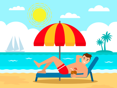 A young man is resting in a lounger under an umbrella on the beach. concept of vacation. vector illustration isolated in cartoon style Vectores