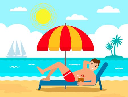 Un joven descansa en una tumbona bajo una sombrilla en la playa. concepto de vacaciones. ilustración vectorial aislado en estilo de dibujos animados