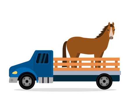 A farm truck carries a horse. animal vector illustration isolated on white background animal