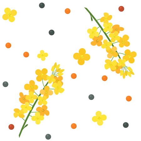 Branches, flowers and rapeseed. Seamless pattern. flat vector