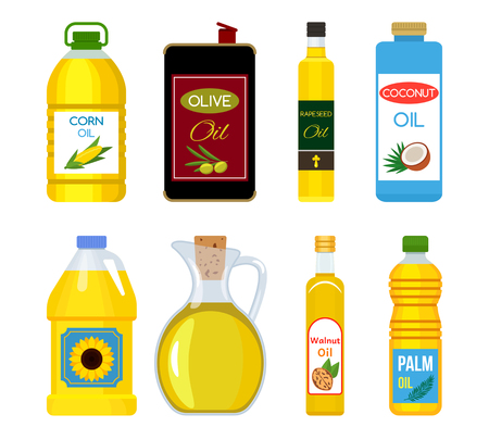 Set of different packaging and bottles with different types of oil