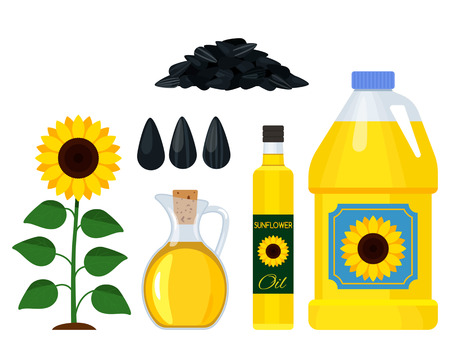 A set of various icons of a sunflower oil - a bottle of plastic and glass, seeds, sunflower. black and white background Vettoriali