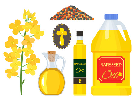 Flowering rapeseed seeds emblem and oil in bottle icons