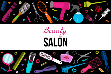 A colorful modern banner with a set of various combs, a hair dryer, scissors for a hairstyle. Hairdressing equipment. The concept of beauty salon. black and white background Stock Vector - 101044186
