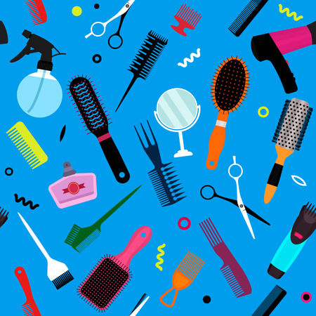 A set of various combs, a hairdryer, a mirror in a seamless pattern. Modern texture for hairdressing business and beauty salons. flat vector illustration Illustration