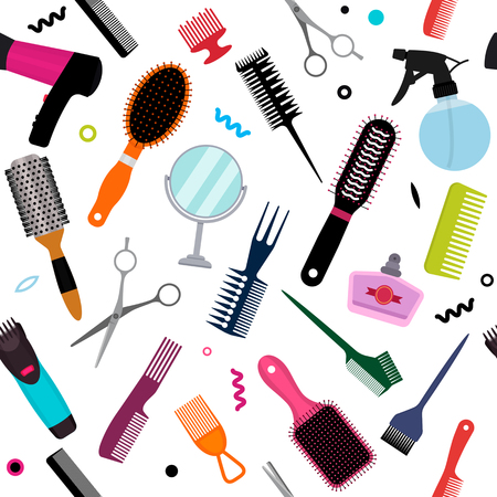A set of various combs, a hairdryer, a mirror in a seamless pattern. Modern texture for hairdressing business and beauty salons. flat vector illustration