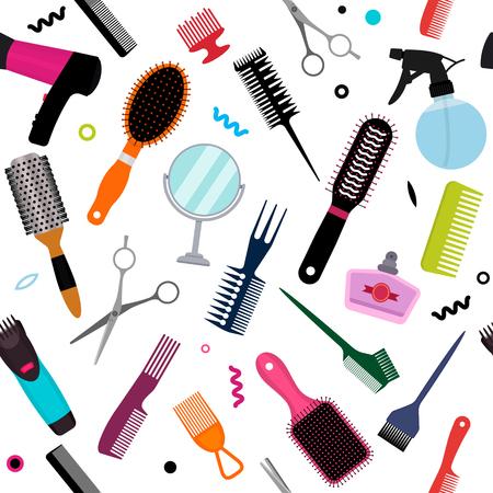 Eine Reihe verschiedener Kämme, ein Haartrockner, ein Spiegel in einem nahtlosen Muster. Moderne Textur für Friseur- und Schönheitssalons. flache Vektorillustration