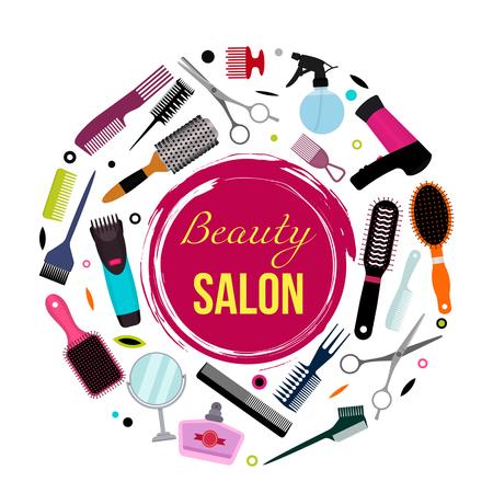 Una colorida pancarta moderna con un conjunto de varios peines, un secador de pelo, tijeras para peinar. Equipo de peluquería. El concepto de salón de belleza. fondo blanco y negro