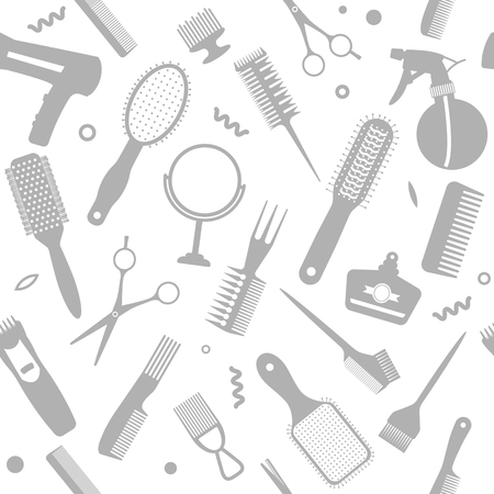 A set of various combs, a hairdryer, a mirror in a seamless pattern. Modern texture for hairdressing business and beauty salons. flat vector illustration Stock Illustratie