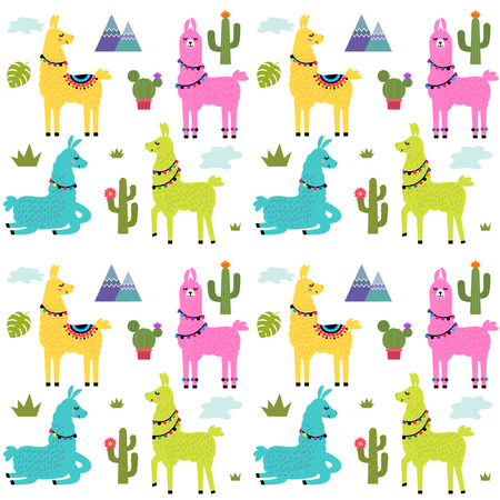 Funny children's textile pattern for printing fabrics. Seamless pattern with llama alpaca, cactus in cartoon style. black and white background