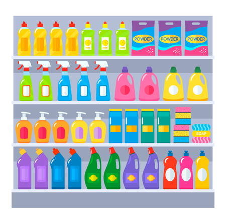 Various household chemical goods packs for cleaning the house, utensils, bathroom on the supermarket store shelves. A flat set of accessories for cleaners. vector illustration