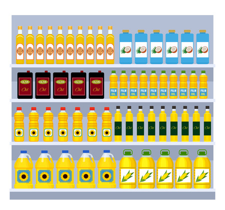 A large set of different packages and bottles with different types of oil - sunflower, rapeseed, walnut, olive, coconut, palm. Shelves in the supermarket. flat vector illustration