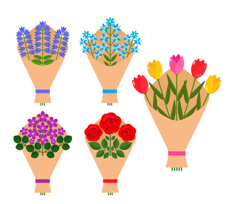 A bunch of bouquets of flowers in a package of paper. Beautiful flowers of roses, tulips, violets, chamomiles - to Mother's day, valentine, birthday. flat vector design illustration