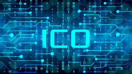 Bannière techno moderne ICO. Vente et production de crypto. illustration vectorielle
