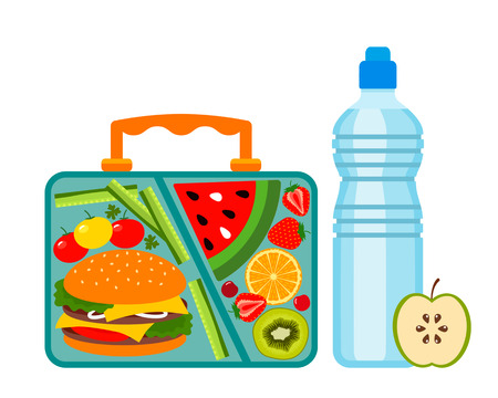 Lunch box with a good lunch for the schoolboy - hamburger, fruit, vegetables and drink. black and white background Illustration