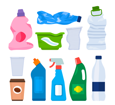 Garbage from various plastic bottles and packages. The concept of recycling and collection of garbage and waste. A set of bottles. black and white background Illustration