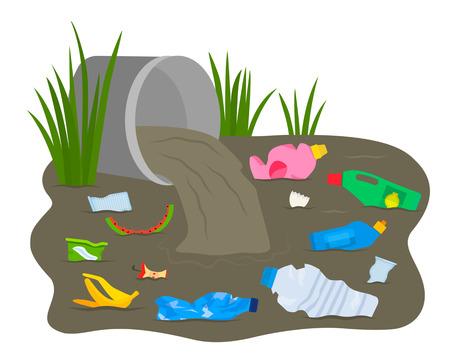 Een hoop afval en puin drijft in een vuile rivier. concept van ecologie en verwerking. zwart-witte achtergrond Vector Illustratie