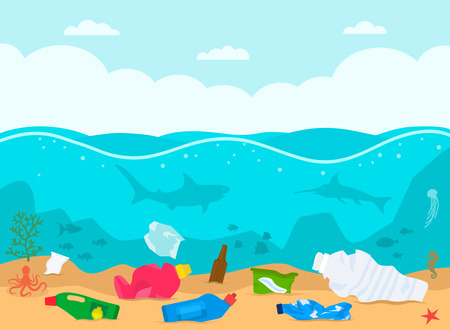 A pile of waste and debris floating on the bottom in the dirty ocean. concept of ecology and processing. flat vector illustration