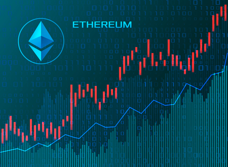 Business chart candles chart stock market investment trading Etherium or EOS arrows up. vector illustration Illustration