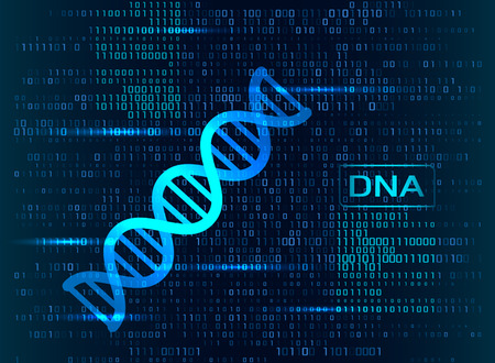 A modern medical banner with a DNA code molecule with glitter. the AGTC of DNA sequence and structure. vector illustration
