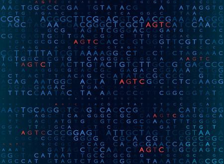 DNA-Sequenzierung nach der Formel AGTC. moderner medizinischer Hintergrund. Vektorillustration